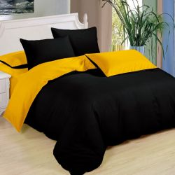 Bavlněné oboustranné povlečení - černá a žlutá