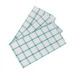 Utěrka bílá - zelené kostky
