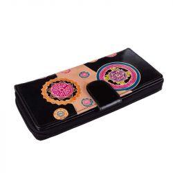Kožená peněženka - černá s mandalami