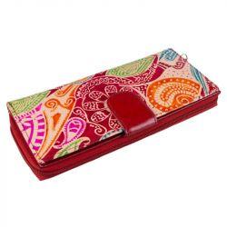 Kožená peněženka - červená s barevným vzorem