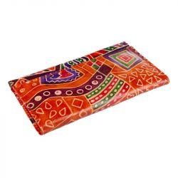 Kožená peněženka - barevná vzorovaná vlnky