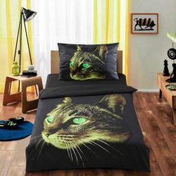 3D povlečení APEX - Kočka zelené oči