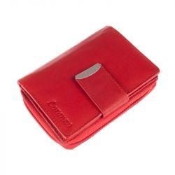 Kožená peněženka, střední - červená Loranzo