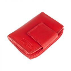 Kožená peněženka, střední - červená Roberto