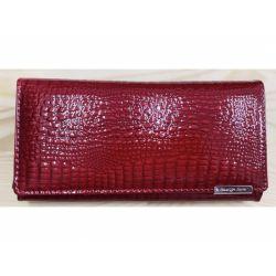 Dámská kožená peněženka - červená lesklá