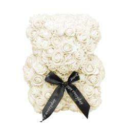 Medvídek z umělých růží 25 cm - krémově bílý
