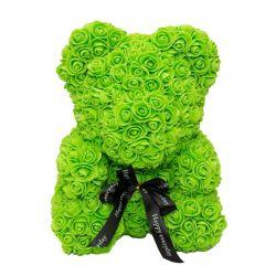 Medvídek z umělých růží 25 cm - zelený