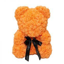 Medvídek z umělých růží 25 cm - oranžový