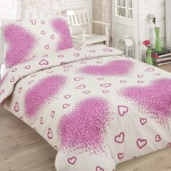 Bavlněné povlečení - Růžová srdíčka