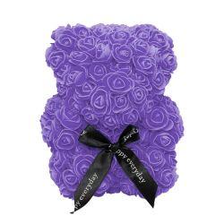 Medvídek z umělých růží 25 cm - fialový