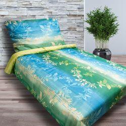 Saténové povlečení - Zelenomodré s květy