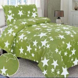 Krepové povlečení - hvězdy zelené