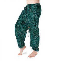 Harémové kalhoty vzorované - petrolejová zelená a černá
