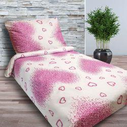 Bavlněné povlečení - Tmavě růžová srdíčka