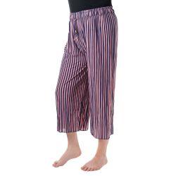 Kalhoty culottes - Pruhované pudrová růžová a modrá