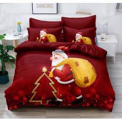 3D povlečení - Vánoce - Santa červené