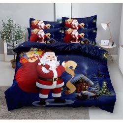 3D povlečení - Vánoce - Santa s dárky - modré