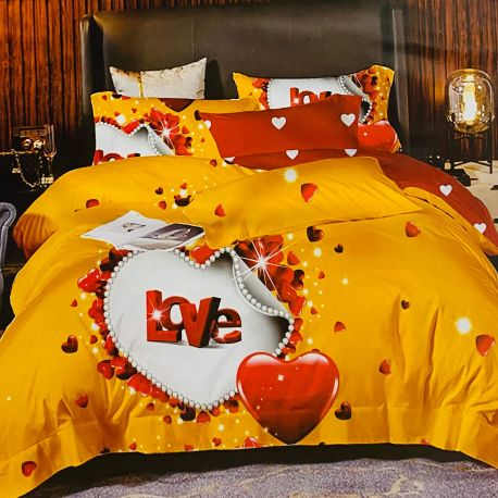 7dílné povlečení - LOVE - žluté