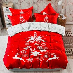 Bavlněné povlečení - Oboustranné vánoční obrázky + dárek malý polštář 40x50 cm