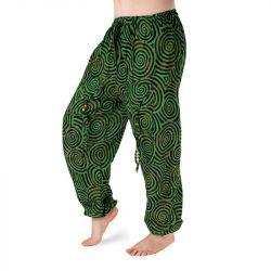 Harémové kalhoty vzorované - zelená a černá