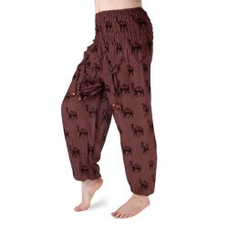 Harémové kalhoty s vyšším pasem - hnědé s velbloudy