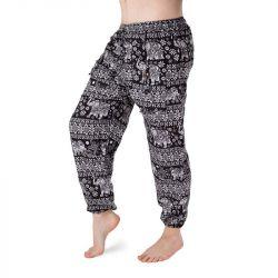 Harémové kalhoty se slony - černá a bílá