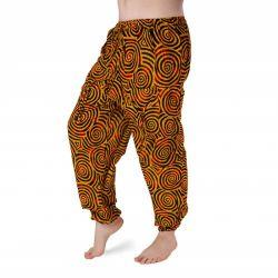 Harémové kalhoty vzorované - žlutá a černá