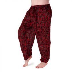 Harémové kalhoty vzorované - červená a černá