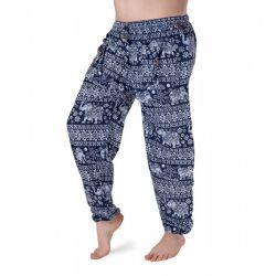 Harémové kalhoty se slony - tmavě modrá a bílá