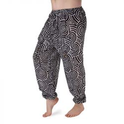 Harémové kalhoty vzorované - bílá a černá
