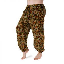 Harémové kalhoty vzorované - hořčicová a černá