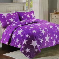 Přehoz na postel fialový - hvězdy