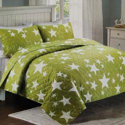 Přehoz na postel zelený - hvězdy