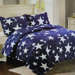 Přehoz na postel modrý - hvězdy
