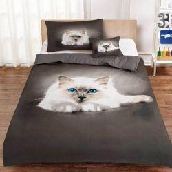 3D povlečení 3dílné - bílá kočka