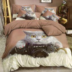 3D povlečení 3dílné - kočka a foťák