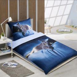 3D povlečení APEX modré - ležící kočka